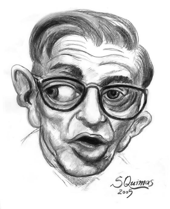 Caricatura do filósofo existencialista francês Jean-Paul Sartre por S. Quimas